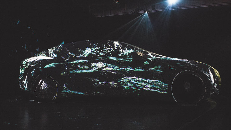 tesla model s projeciton mapping 360 car auto automotive animation motion design